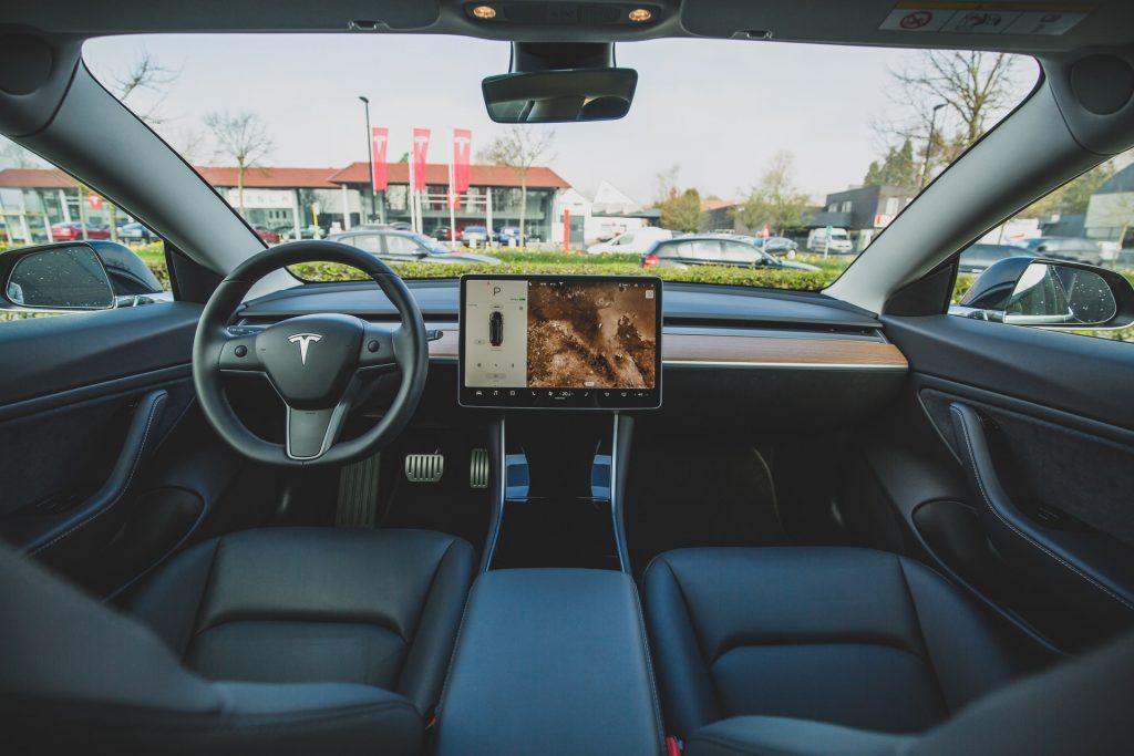 Interior of a Tesla car