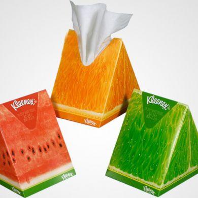 Kleenex's wedge shaped package